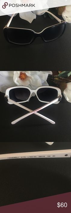 ⚜CHANEL sunglasses-black & white⚜ Authentic Oversized blacked out lenses CHANEL black and white sunglasses⚜These glasses have been previously loved for years. PLEASE READ: white portion of the glasses have color transfer, arms are bowed from wear, lenses are in good condition. No case but a cloth sister available. Please do not purchase if you are longer for flawless or perfect sunglasses. These were purchased from the CHANEL boutique. Picture requested additional pictures. CHANEL…