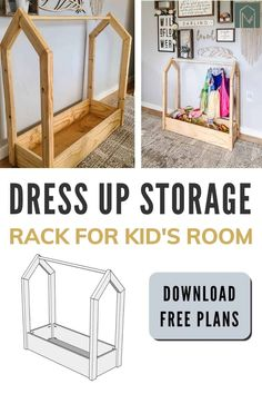 Do you have dress up clothes all over the place? Make these easy wooden DIY dress up storage rack for kids using our free woodworking plans and tutorial.