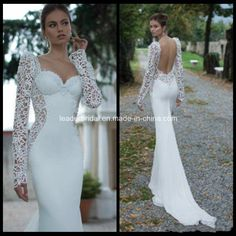 China Long Sleeves White Venice Lace Chiffon Sheath Wedding Dress H14654 - China Lace Wedding Dress, Wedding Dress