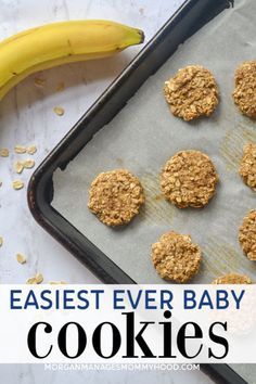 a cooking sheet lined with parchment paper and topped with simple 2 ingredient cookies on a marble counter top with a banana and oats snacks banana Easiest Baby Cookies Ever - the best homemade teething biscuits Baby Food Recipes, Gourmet Recipes, Whole Food Recipes, Snack Recipes, Food Baby, Banana Recipes Baby, Banana Recipes For Toddlers, Snacks For Toddlers, Toddler Recipes