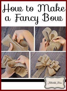 How To Tie Ribbon, Diy Ribbon, Ribbon Crafts, How To Make Bows, Ribbon Bows, Ribbons, Burlap Bow Tutorial, Wreath Tutorial, Bow Making Tutorials