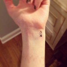 20 Small Tattoos With Big Meanings | Top symbol: unclosed delta symbol which represents open to change. Bottom symbol: strategy.