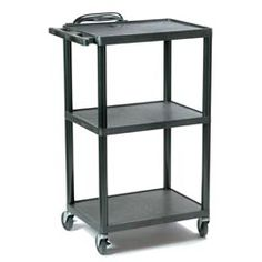 HamiltonBuhl Plastic AV Cart Adjustable from to Adjusts to 4 height sizes: or non-marring casters locking) Integrated power strip with 3 outlets Reinforced ribbing on underside of shelves for extra strength 150 lbs. weight capacity per stationary shelf Classroom Furniture, School Furniture, Kitchen Furniture, Classroom Tools, Teacher Tools, Classroom Organization, Teacher Stuff, Rolling Utility Cart, Large Shelves