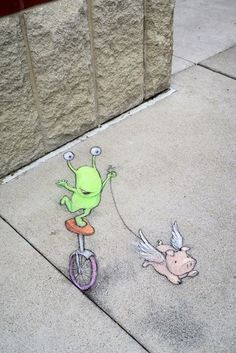 Equilibrio instabile  #streetart by David Zinn