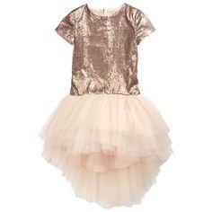 Junior Gaultier - Robe rose poudre en tulle et sequin et cape assortie en tulle - 41555