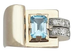 1.45 ct Aquamarine and 0.30 ct Diamond, 18 ct Yellow Gold Dress Ring - Art Deco…