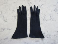 """VINTAGE 1950's UNUSED Navy Blue 10"""" Suede Leather Wrist Length Gloves--Size 6 1/4--Glove Auction #1485 by PrimaMona on Etsy"""