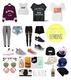"""""""my life"""" by mackenziep04 ❤ liked on Polyvore featuring WithChic, One Teaspoon, River Island, NIKE, Converse, Ray-Ban, Matthew Williamson, Casetify, ban.do and Kate Spade"""