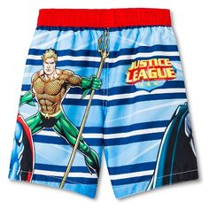 80b41e37876e7 Toddler Boys' Justice League Swim Trunks - Blue 4T