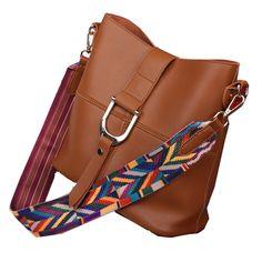 Sale 20% (28.98$) - Women Pu Casual Shoulder Bag Colorful Strap Decoration Button Crossbody Bag 2Pcs