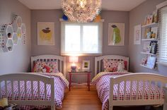 This darling shared room for sisters was inspired by @landofnod's farmers market bedding!
