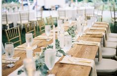 Our unique and all natural farm tables really show their beauty on a bright sunny day. Pairs perfectly with some olive leaf greens and simple white candles. Farm Wedding, Rustic Wedding, Wedding Rentals, White Candles, Tablescapes, Table Settings, Dining Table, Table Decorations, Farm Tables