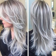 New hair color brown grey blonde highlights Ideas pins Gray Hair Highlights, Platinum Highlights, Highlights 2016, Natural Highlights, Bright Highlights, White Hair With Lowlights, Covering Gray Hair, Transition To Gray Hair, Low Lights Hair