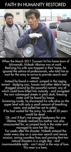Funny pictures about Tsunami hero saves his wife and countless lives. Oh, and cool pics about Tsunami hero saves his wife and countless lives. Also, Tsunami hero saves his wife and countless lives. We Are The World, In This World, Gives Me Hope, Little Bit, Faith In Humanity Restored, Think, Good People, Amazing People, Amazing Man