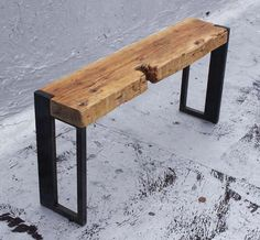 Reclaimed Wood and Steel Bench. Awesome!