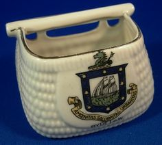 Crested China Edwardian Souvenir Fishing Creel - Ryde, Isle of Wight