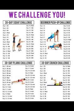 Here's an idea one of the people I coach gave me. A 30 day squat, plank and push up challenge. For a more current version of this challenge go here: Each day, after you get up and bef… Fitness Herausforderungen, Fitness Video, Health And Fitness Tips, Fitness Plan, Sport Nutrition, Nutrition Education, Nutrition Quotes, 30 Day Squat Challenge, Crunch Challenge