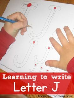 Lots of creative ways to make letter J, plus beginning handwriting sheets (with links to free printables)