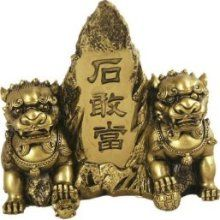 Asian Home Hong Tze Collection-brass Color Front Gate Fu Dogs
