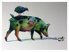 'Piggyback' (watercolour on Fine Art Paper) by Nick Eggleston.