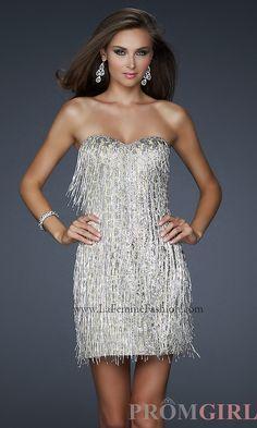 ddd7f24b21 La Femme Short Silver Strapless Dress LF-17529 Strapless Dress