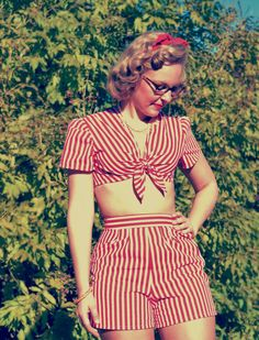Vintage 1940's red and white striped shorts and halter top
