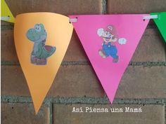 Banderines para cumpleaños infantiles hechos a mano, diy birthday decorations. Yoshi, Mario Y Luigi, O Pokemon, Planter Pots, Decorated Cakes, Diy Decorating