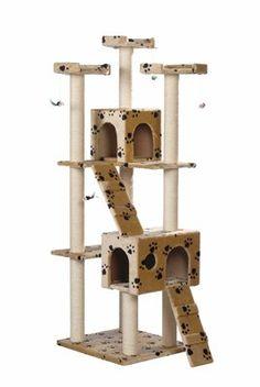Albero tiragraffi #gatto color beige con orme. #giochi per #gatti
