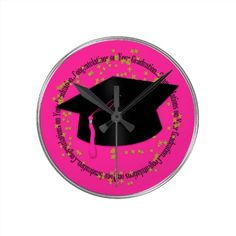 Congratulations Graduation Round Clock #pink #graduation #clock www.zazzle.com/serenitygardens
