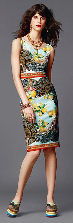 Summer Collection 2015 - Dolce & Gabbana | fans print dress | Jamie B