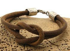 FREE SHIPPING. Mens leather bracelet.Handmade natural leather, marine knot, nautical mens bracelet with silver plated clasp. via Etsy