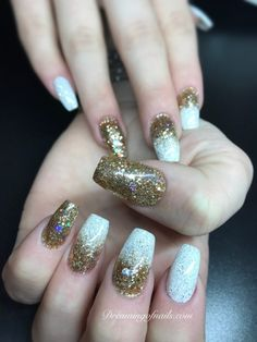 Gold and white ombré glitter nails