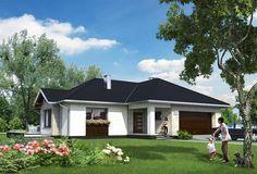Projekt domu parterowego o pow. 140,7 m2 z obszernym garażem, z dachem wielospadowym, z tarasem, z wykuszem, sprawdź! Exterior Colors, Ground Floor, Home Fashion, House Plans, Villa, House Design, Flooring, Mansions, Architecture