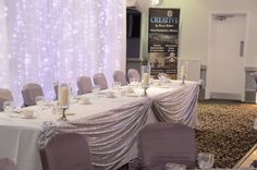 silver sequin top table drape