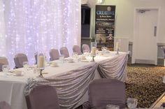 silver sequin top table drape