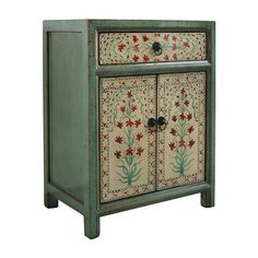 Pair of Bedside Cabinets, Aqua, Cream and Red Hand Painted Furniture, Diy Furniture, Bedside Lockers, Casa Milano, Shelf Makeover, Upcycled Furniture Before And After, Antique Cupboard, Upcycled Vintage, Room Paint