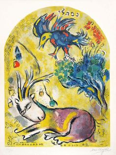 The Tribe of Naphtali (Lithograph Marc Chagall - The 12 Maquettes of Stained Glass Windows For Jerusalem Marc Chagall, Artist Chagall, Chagall Paintings, Pablo Picasso, Goat Art, Jewish Art, Art Moderne, Kandinsky, Cubism