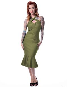 Steady Clothing Rock Steady Rocksteady Women's The Cherry Dollface Wiggle Dress sold by www.steadyclothing.com Criss Cross Halter Mermaid Ruffle Skirt Pin Up Girls Pin Up Pinup Model YouTube sensation Rockabilly clothing pin up lifestyle rockabilly style
