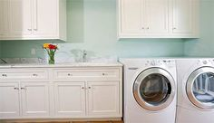 Organizing 101: Laundry rooms wall colors, buckets, vinyl, laundry rooms, laundry room organization, paint, laundri room, organization ideas, white cabinets