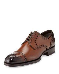 N3KT4 TOM FORD Edward Med-Cap Wing-Tip Derby Shoe, Brown