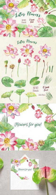 Lotus Flowers. Scrapbooking. $8.00