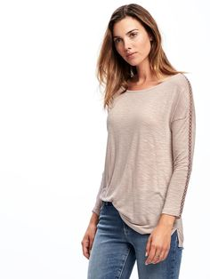 Relaxed Slub-Knit Crochet-Trim Top for Women | Old Navy