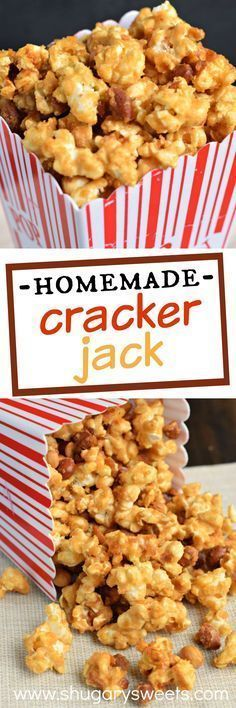 Making Homemade Cracker Jack popcorn is super easy and delicious! Sweet and crunchy, this addictive caramel corn is better than the original! Use earthbalance and almonds or choice of nuts; Candy Recipes, Snack Recipes, Dessert Recipes, Cooking Recipes, Homemade Crackers, Homemade Candies, Homemade Popcorn Recipes, Homemade Food, Diy Food
