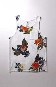Hooked on x Star Wars Darth Vader Floral Tank Top that I found on the PacSun App Floral Tank Top, Surf Outfit, Polo T Shirts, Streetwear, Tank Man, Darth Vader, Star Wars, Branding, Fancy