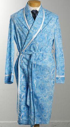 1970's Blue Lilly Pulitzer Men's Stuff Palm Beach Bath Robe