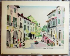 1953,  Fine Art,  Beautiful Hand Painted Lithograph, French Artist, Bernard Goldsmith Co., Vintage Cityscape by FunFloridaVintage on Etsy