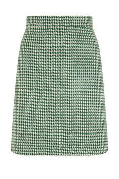 The Mini Skirt - Green Houndstooth | Tara Starlet Retro inspired wool blend 60s style short skirt for Fall Autumn Winter. Made in London UK from reclaimed fabrics.