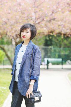 coloured blazer, print T-shirt, leather leggings - le monde de tokyobanhbao