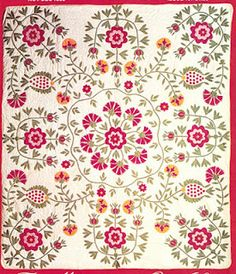 Unknown Maker. From the cover of Quilters' Newsletter #157, November/December 1983...One of a series of similar appliques from the mid-19th-century. [more photos featured on this blog post by Barbara Brackman]