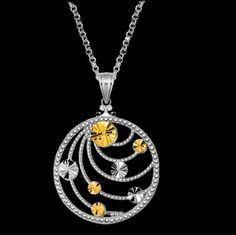 For Everything Genealogy - Swirl Open Round Medallion Yellow Gold Accent Sterling Silver Pendant, $180.00 (http://www.foreverythinggenealogy.com.au/swirl-open-round-medallion-yellow-gold-accent-sterling-silver-pendant/)